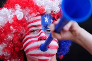 soccer fan with stars and stripe painted face