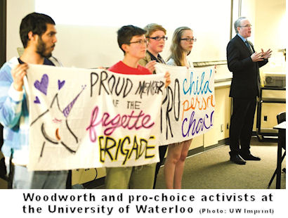 Stephen Woodworth and pro-choice activists at University of Waterloo