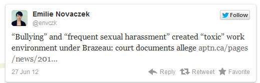 "Image: """"Bullying"" and ""frequent sexual harassment"" created ""toxic"" work environment under Brazeau: court documents allege"""