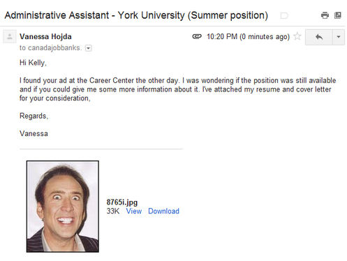 Image: Job application with photo of grinning Nicolas Cage