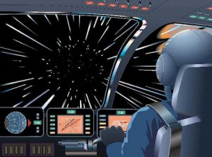 Illustration of warp speed travel