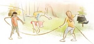 Enbridge illustration: Girls jumping rope
