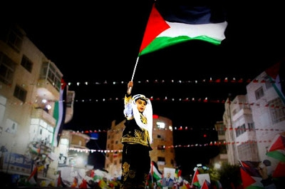 A young boy waves a Palestinian flag
