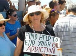 "Woman protesting ""oil addiction"""