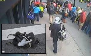 Boston bombing supects with backpacks (inset: exploded backpack)