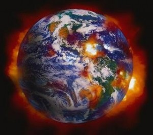 View of Earth with many explosions
