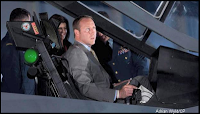 Peter MacKay in fake F-35 cockpit