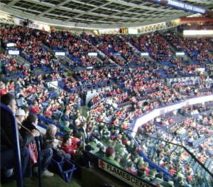 Crowd in large hockey arena