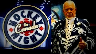 Hockey Night in Canada logo and Don Cherry
