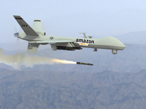 military drone firing a missile