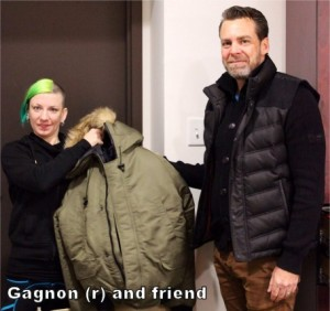 Gagnon and friend with coat