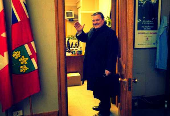 Jim Flaherty waving goodbye