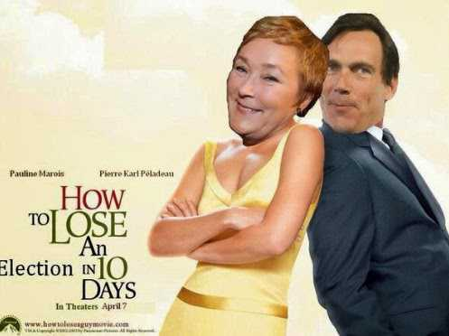 """Faux movie poster showing Marois and Pare: """"How to Lose an Election in 10 Days"""""""