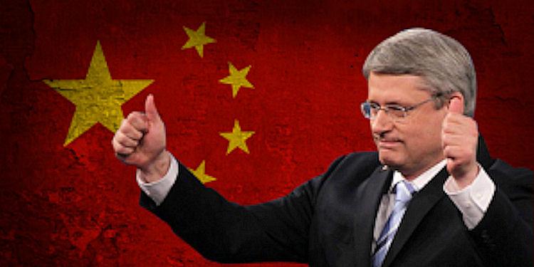 Stephen Harper against Chinese flag