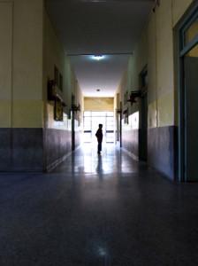 silhouette of boy in school