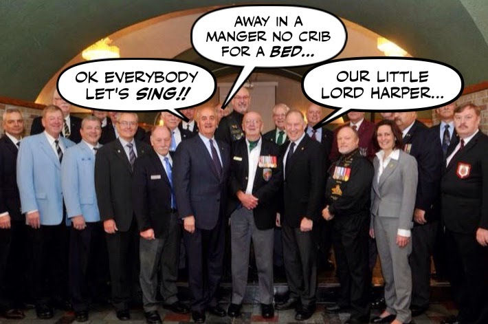 Satirical photo: Fantino and Legionnaires singing