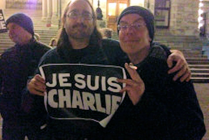 Mark Leiren-Young and Ian Ferguson at Victoria Charlie Hebdo vigil