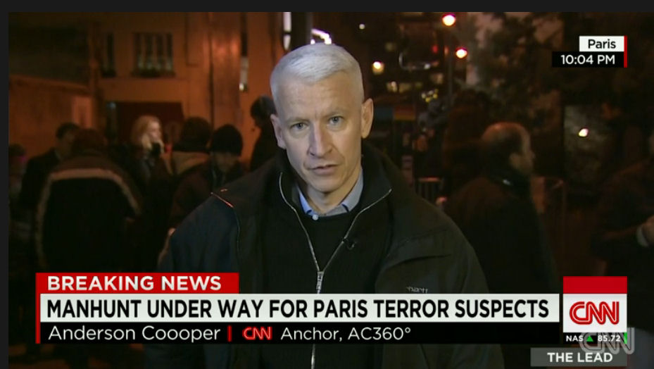Anderson Cooper in Paris on CNN