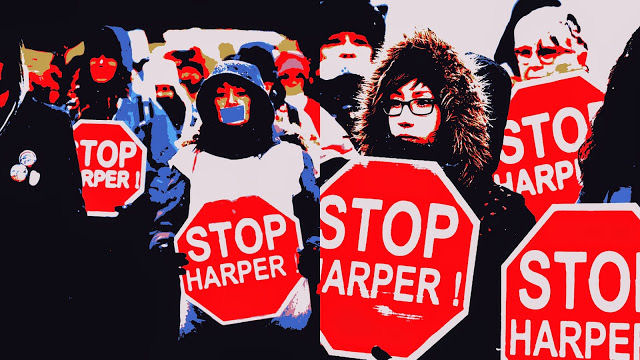 Collage of Bill C-51 protesters with Stop Harper signs