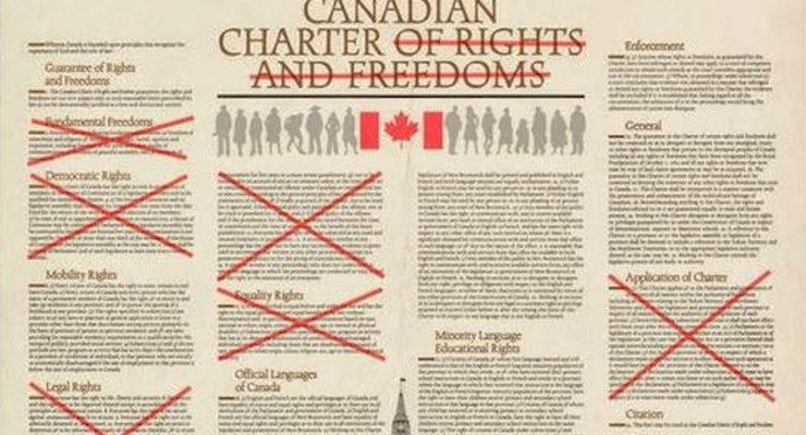 Canadian Charter with sections X'd out