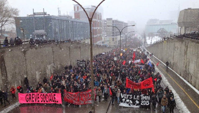 Anti-austerity protesters in Montreal, March 2015