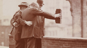 Vintage photo of men taking selfie