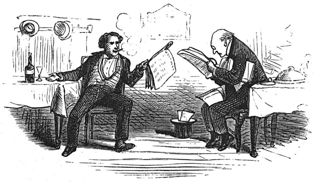 Old ink drawing of two men reading newspapers