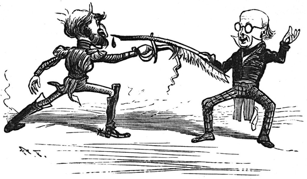 Old ink drawing of two men sword fighting