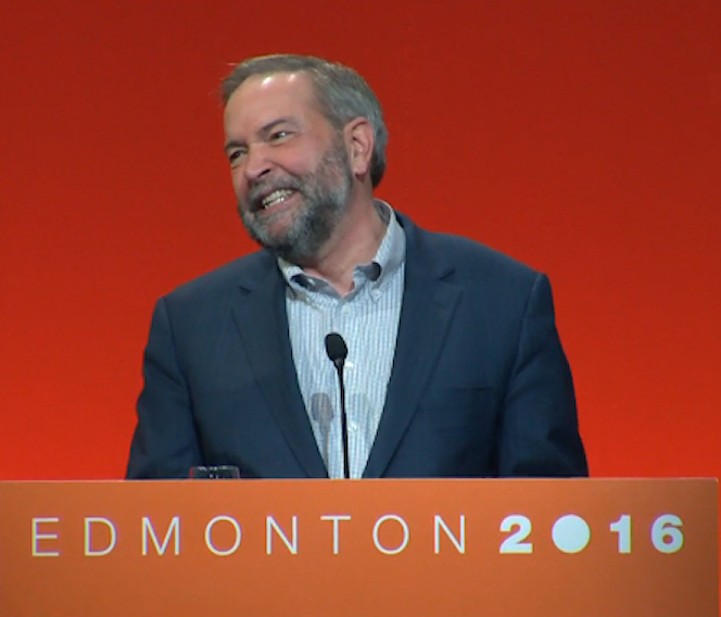"Thomas Mulcair at NDP convention, ""smiling"""