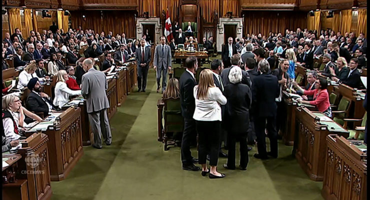 House of Commons during the elbow incident