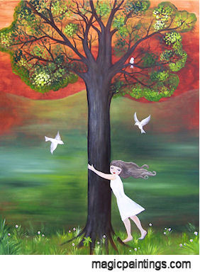 Image: Painting of girl hugging tree