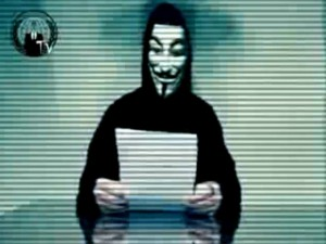 Supposed Anonymous representative  in Guy Fawkes mask