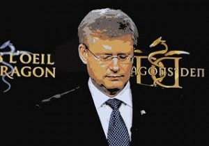 "Stephen Harper standing before ""Dragon's Den"" logo"