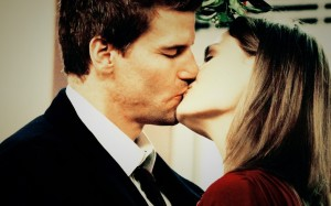 Big kiss on TV show Bones