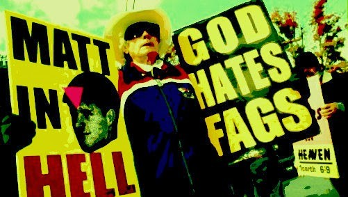 Fred Phelps with hate signs