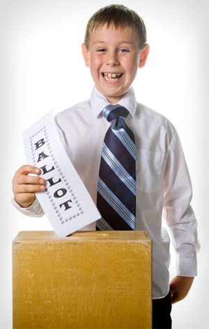 Boy voting