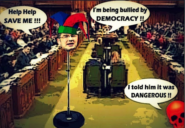 "Cartoon of Pierre Poiliever saying ""Help, I'm being bullied by democracy"""