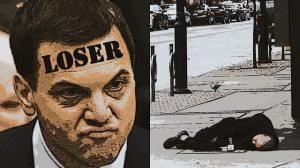 Two panels: Tim Hudak and homeless man
