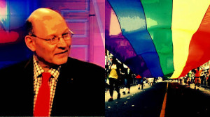 Michael Coren (l), gay pride parade (r)