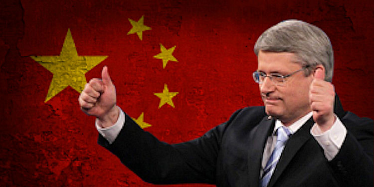 Stephen Harper against Chinese flag