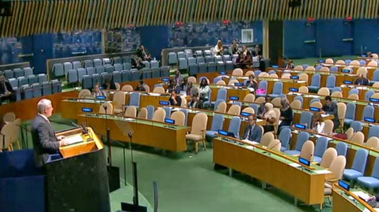 Stephen Harper addresses largely empty UN, 2014