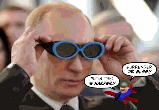 Putin, with Harper in plane