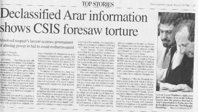 "Clip of newspaper story: ""Declassified Arar infromation shows CSIS foresaw torture"""