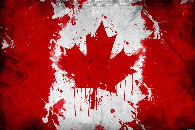 Canadian flag smeared