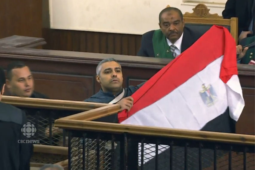 Mohamed Fahmy raises Egyptian flag in court