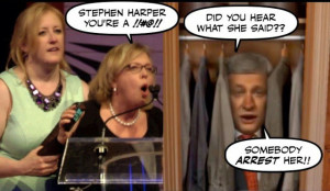 Cartoon: Elizabeth May swearing at Stephen Harper
