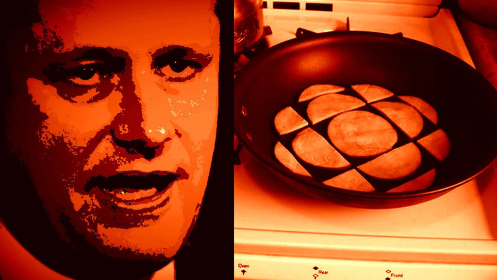 Harper and CBC logo in frying pan