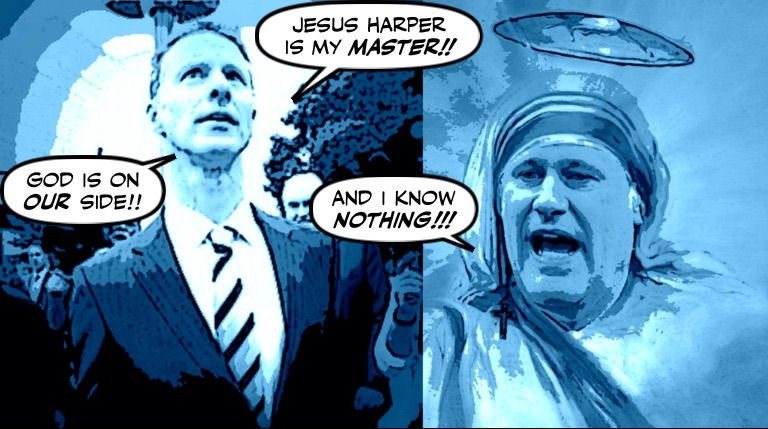 Cartoon: Wright praying to Harper