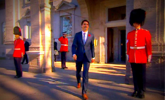 Justin Trudeau leaving Parliament Buildings
