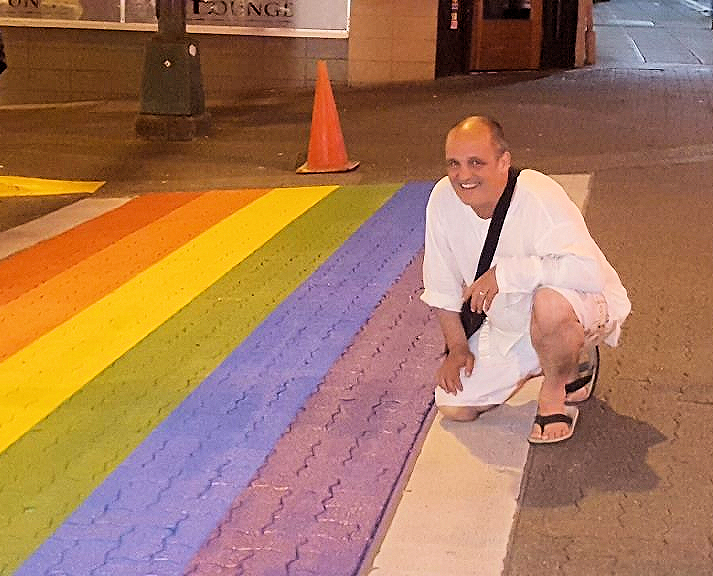 Rick Meyers at rainbow crosswalk